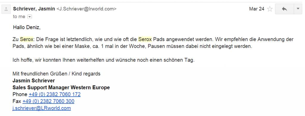 Almanyadan Gelen Serox Cevabı