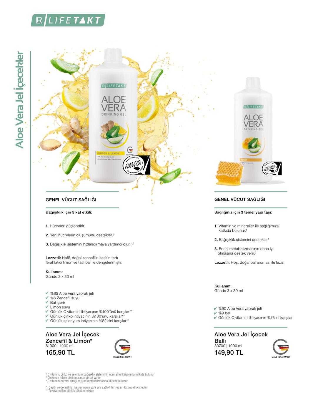 LR Aloe Vera Jel İçecek Zencefil & Limon katalog